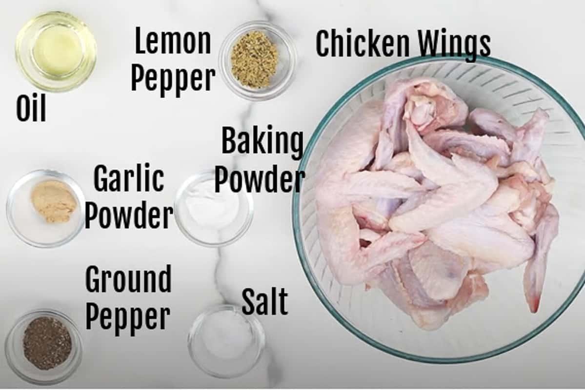 Air Fryer Wings Ingredients.