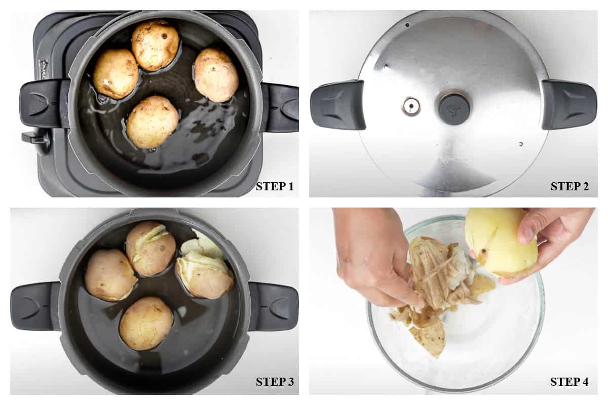4 steps showing boiling and peeling potatoes