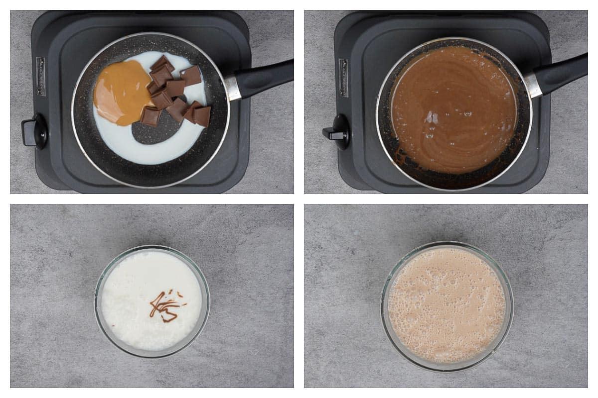 Chocolate lassi steps.