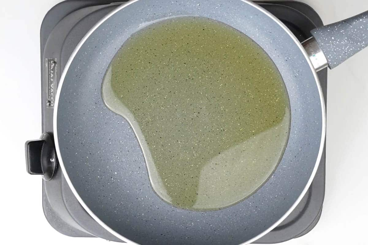Heating oil in a pan