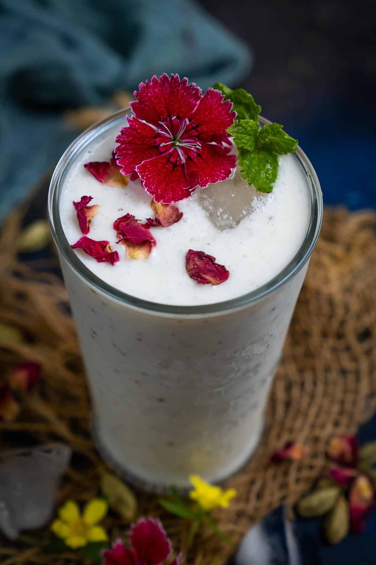 Sweet lassi served in a glass.
