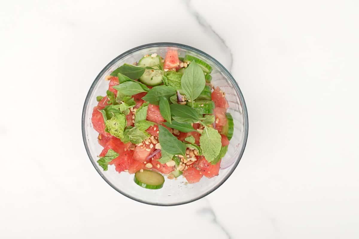 Ready Thai watermelon salad.