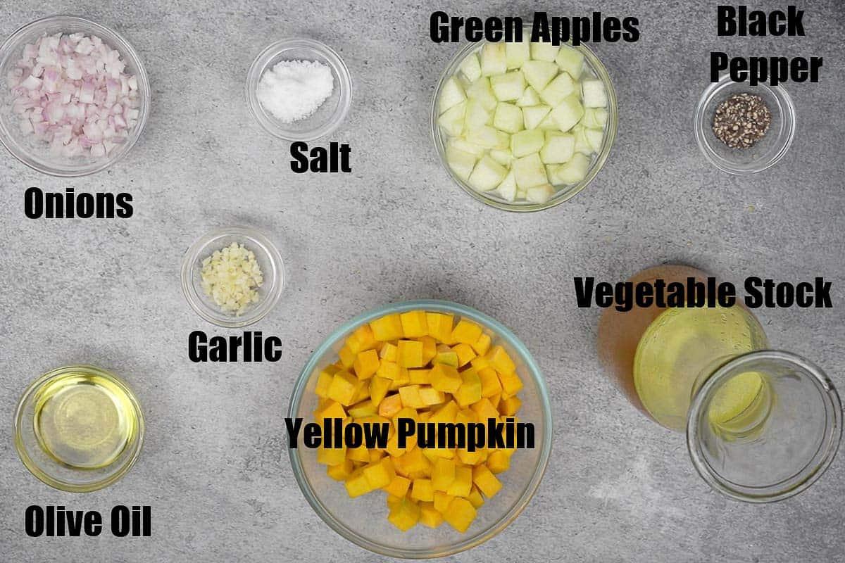 Pumpkin apple soup ingredients.