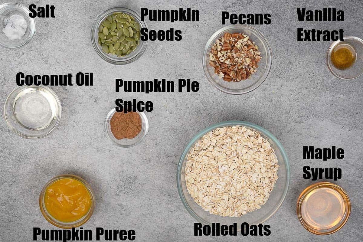 Pumpkin spice granola ingredients.