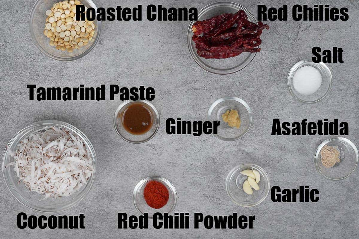 Red coconut chutney ingredients.