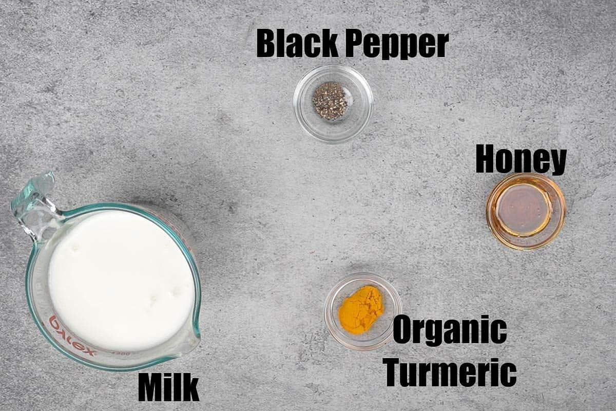 Turmeric milk ingredients.