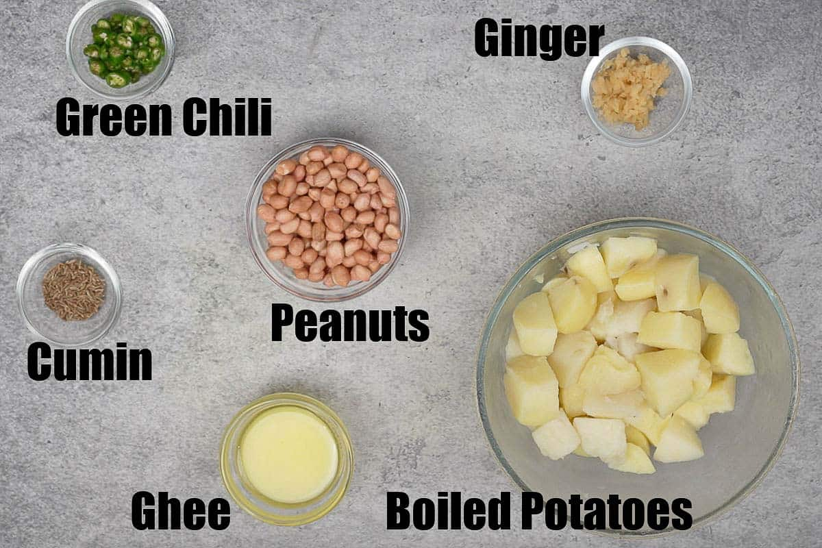 Vrat wale sookhe aloo ingredients.