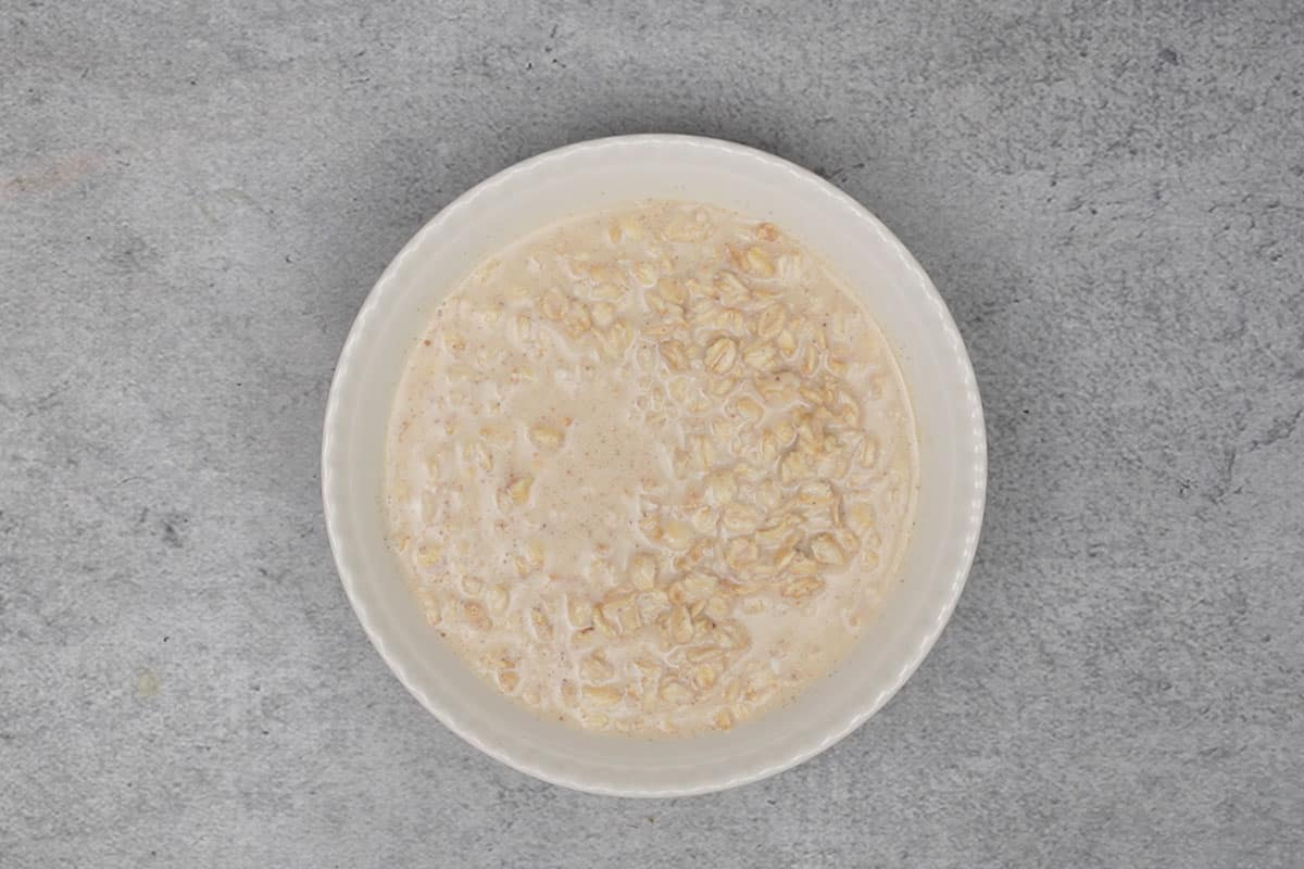 Overnight oats transferred in a bowl.
