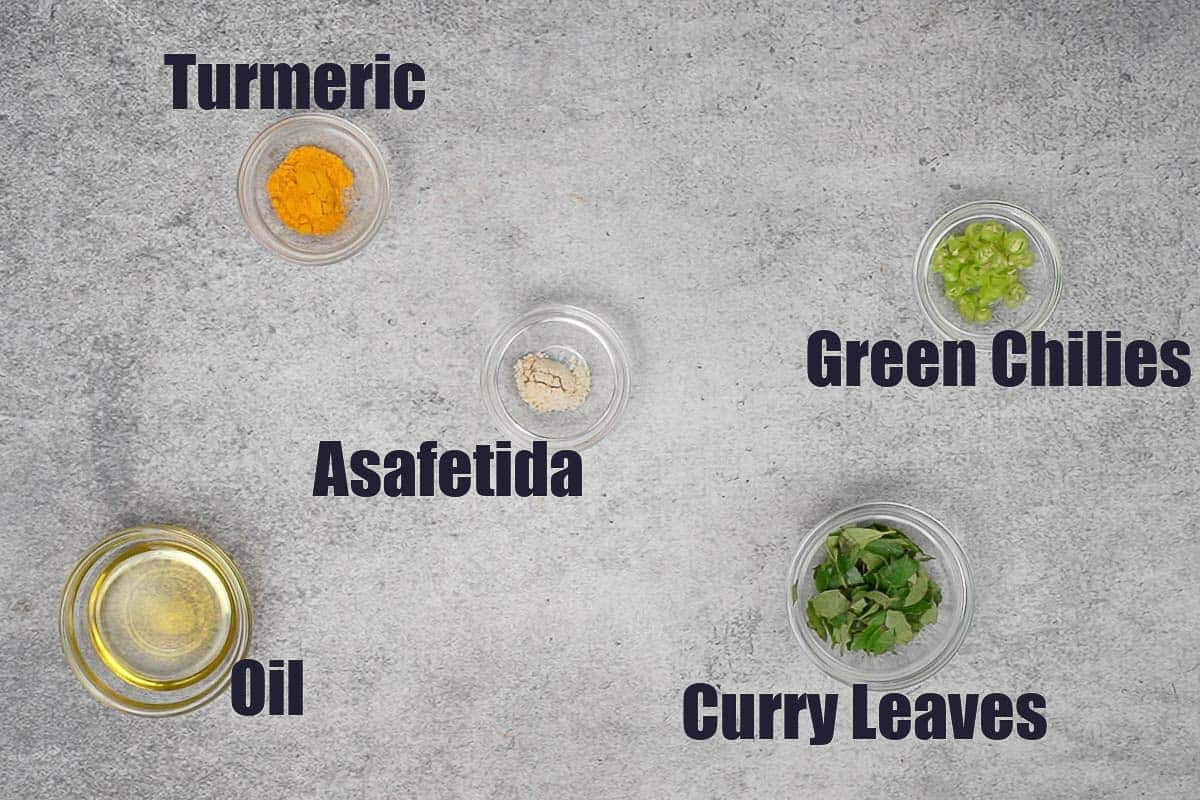 Poha bhel tempering ingredients.