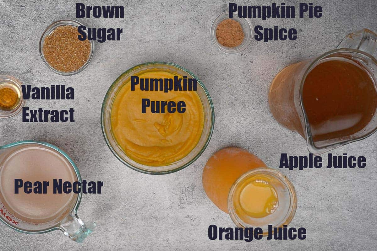 Pumpkin Juice Ingredients.