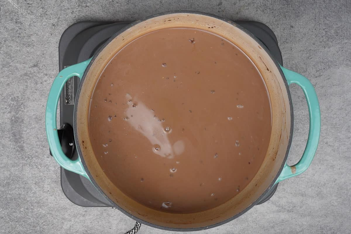 Chocolate and vanilla added to the pan.