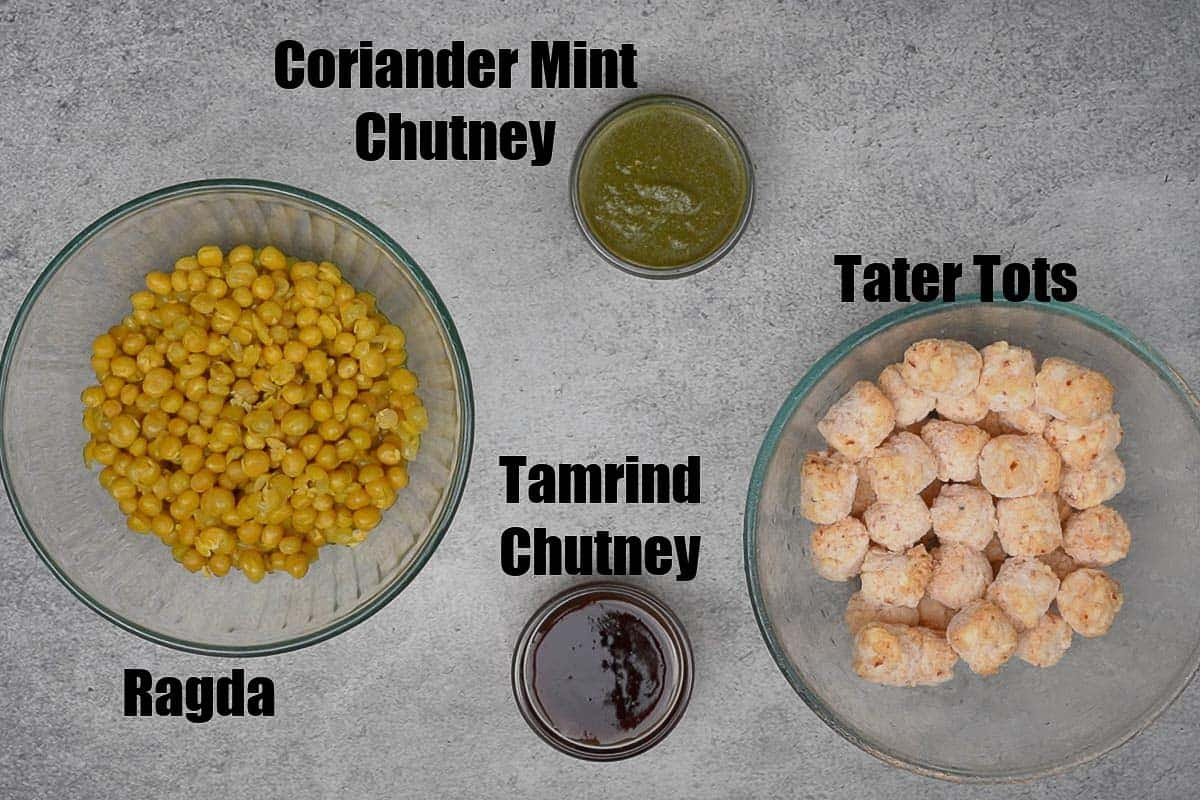 Tater Tots Chaat Ingredients.