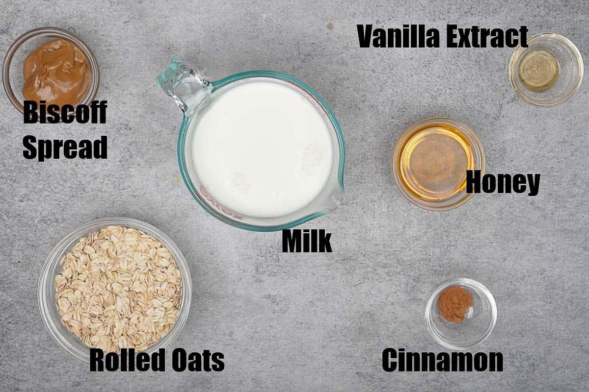 Biscoff oats ingredients.