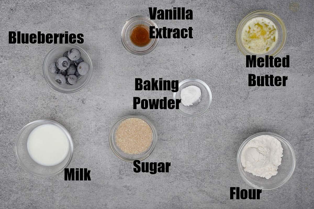 Blueberry Mug cake Ingredients.