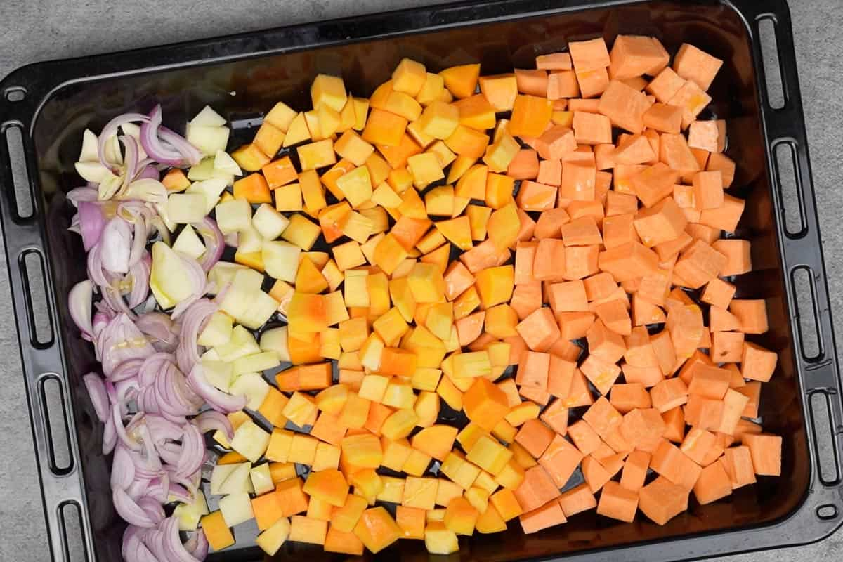 Veggies transferred on a baking tray.