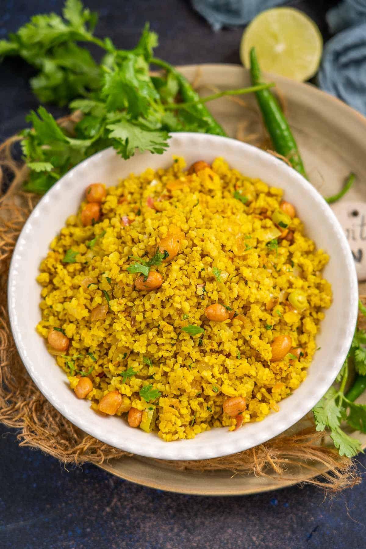 Millet poha served in a bowl.