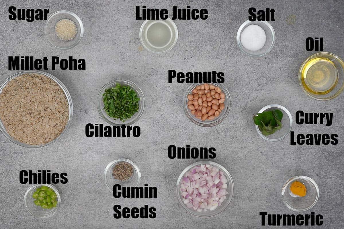 Millet Poha Ingredients.