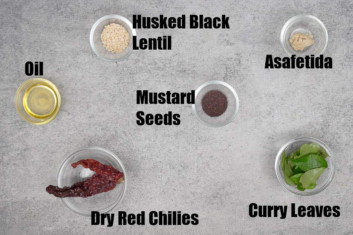 Mint Coconut Chutney Tempering Ingredients.