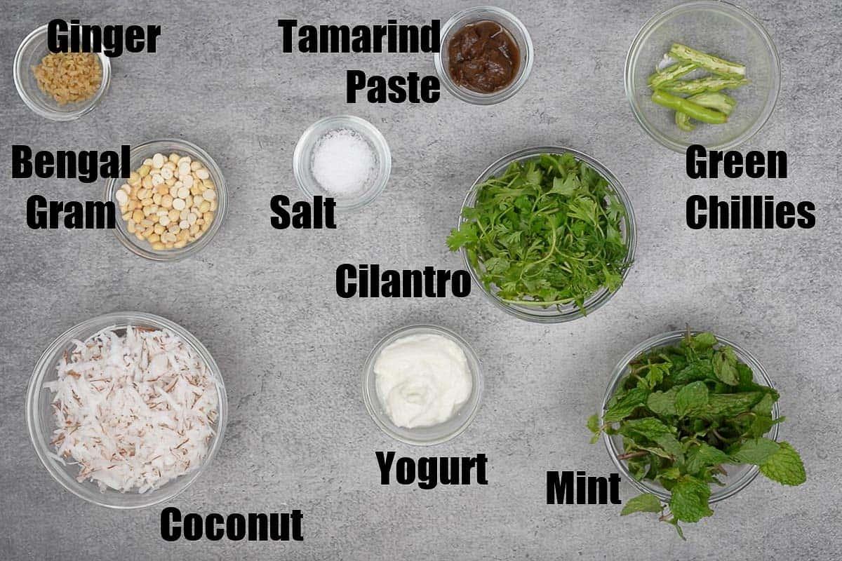 Mint Coconut Chutney Ingredients.