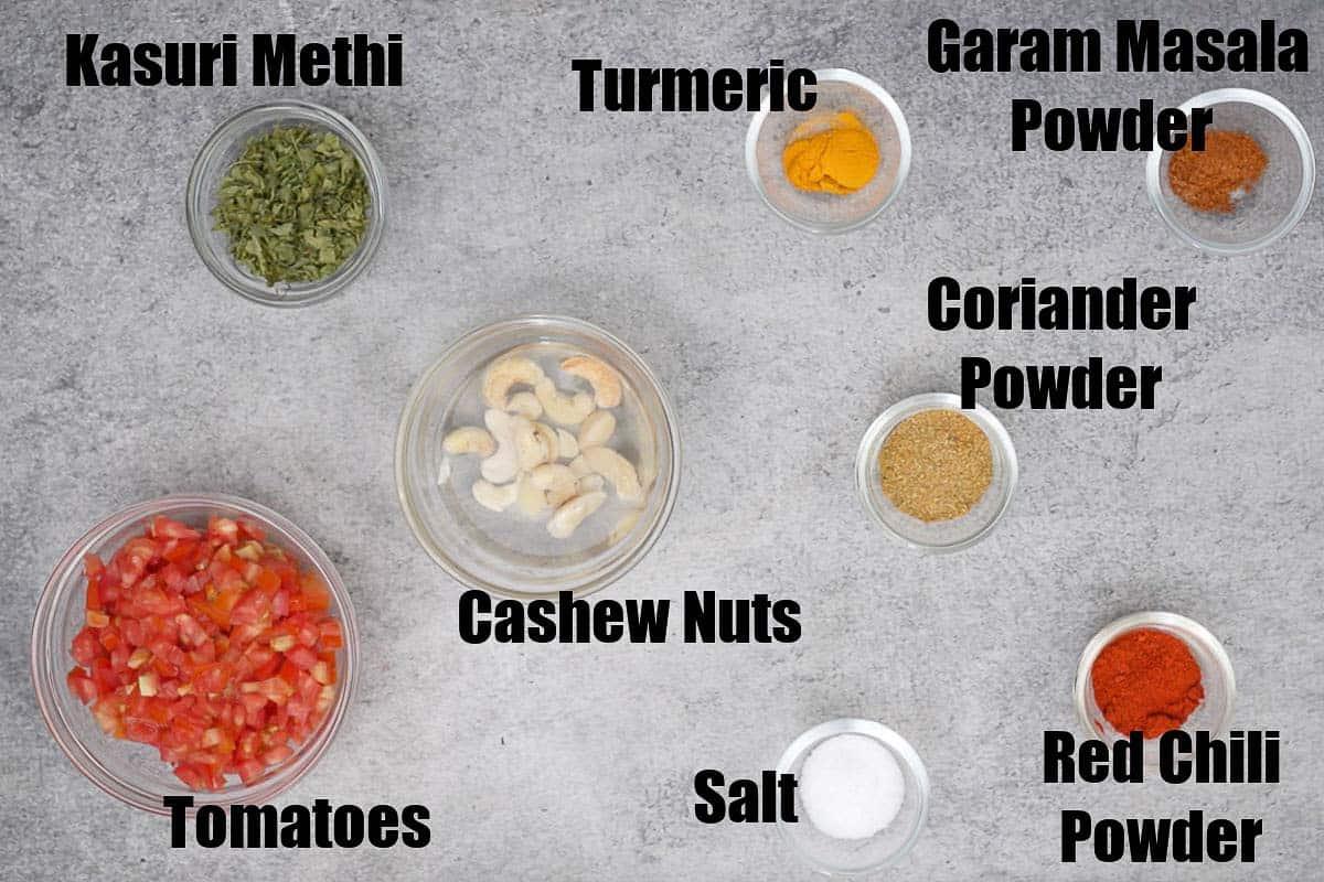 Paneer lababdar ingredients 1
