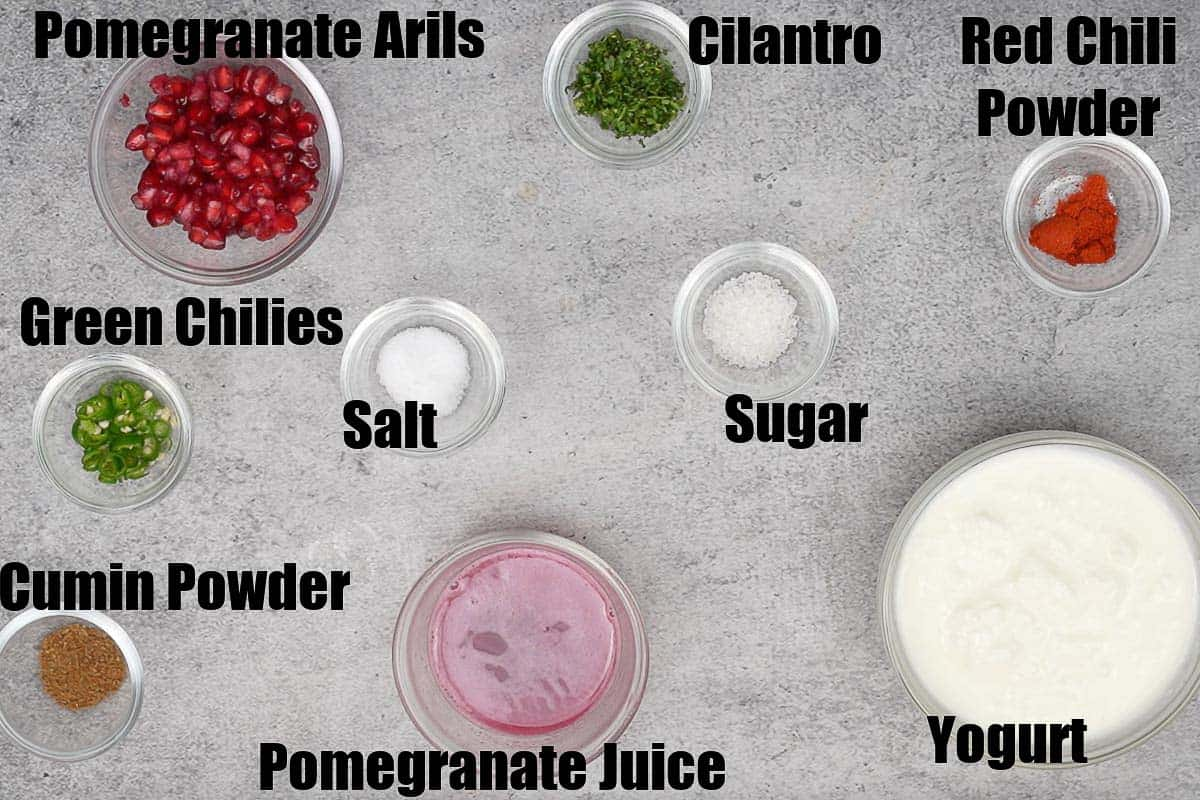 Pomegranate raita ingredients.