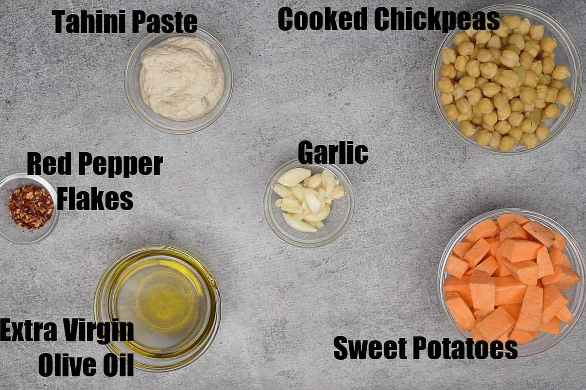 Sweet potato hummus ingredients.