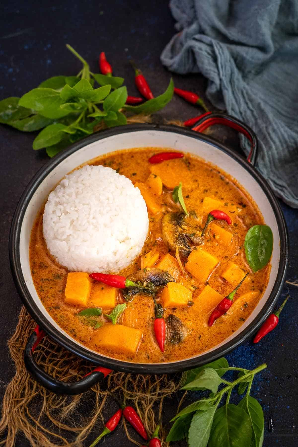 Thai sweet potato curry served in a bowl.