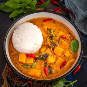 Make this cozy Thai Sweet Potato Curry for fall and winter dinners. It is super easy to make and comes together in under 20 minutes using simple ingredients (vegan, gluten-free).
